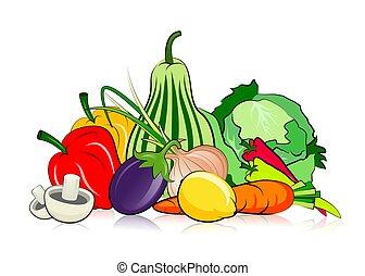 Vegetables - An illustration of healthy assorted vegetables ...