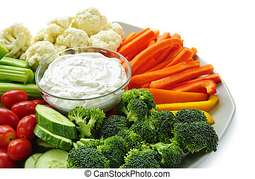 Vegetables and dip - Platter of assorted fresh vegetables...