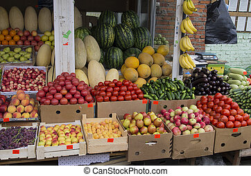 Vegetables and fresh fruits in a market