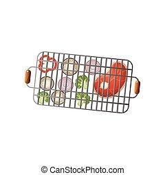 Vegetables and fresh steak on metal steel bbq basket