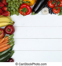 Vegetables and fruit fruits like apple, orange, tomato with copyspace