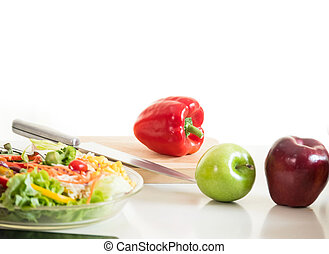 Vegetables and fruit on chopping board,food ingredient ready for cooking