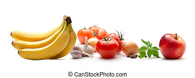 Vegetables and fruit on the white background