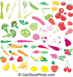 Vegetables and fruit vector illustration