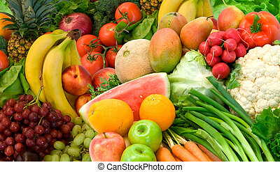 Vegetables and Fruits Arrangement - This is a close-up of ...