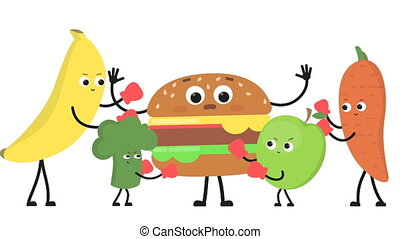 Vegetables and fruits beat burger. - Cartoon vegetables and...