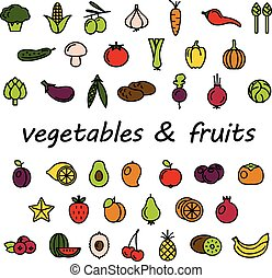 vegetables and fruits colourful icons