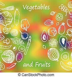Vegetables and Fruits Doodle Set