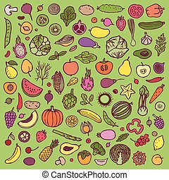 Vegetables and fruits doodle set