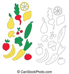 Vegetables and fruits for children. Hand-drawn icons. Coloring book for kids. Vector