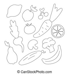 Vegetables and fruits for children. Hand-drawn icons. Coloring book for kids.