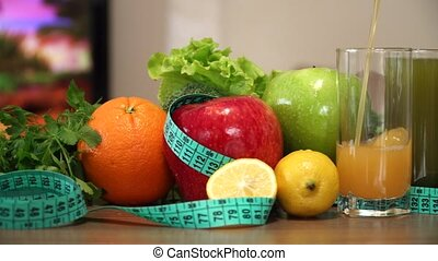 Vegetables and Fruits for Fitness with Measuring Tape.