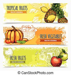 Vegetables And Fruits Horizontal Banners
