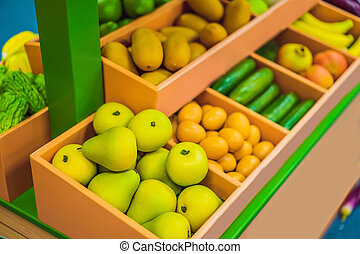 Vegetables and fruits in a toy supermarket