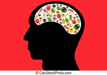 Vegetables and fruits in Head on Red Background.