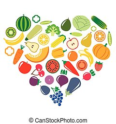 Vegetables and fruits in the shape of heart background illustrat