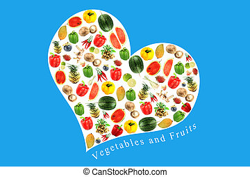 Vegetables and fruits in white heart on Blue Background.