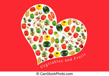 Vegetables and fruits in white heart on RED Background.