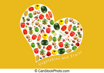 Vegetables and fruits in white heart on yellow Background.