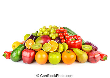 Vegetables and fruits isolated on a white background.
