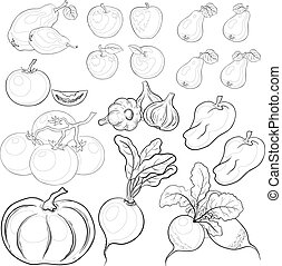 Vegetables and fruits, outline, set - Vector, set: various...