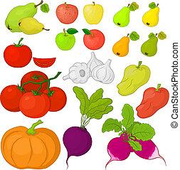 Vegetables and fruits, set