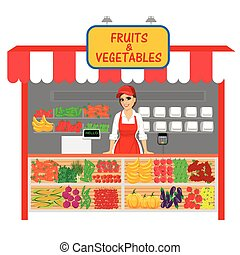 vegetables and fruits shop with female seller