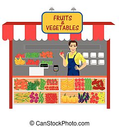 vegetables and fruits shop with young man seller