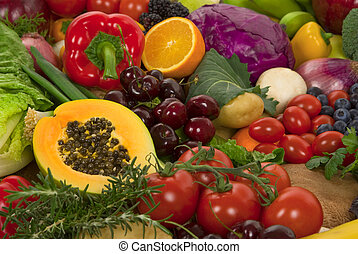 Vegetables and Fruits - Healthy organic vegetables and...