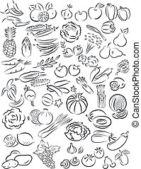 vegetables and fruits - vector illustration of fruits and...