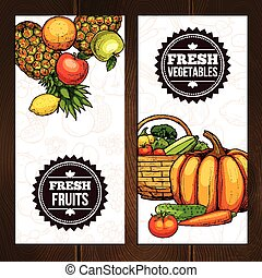 Vegetables And Fruits Vertical Banners
