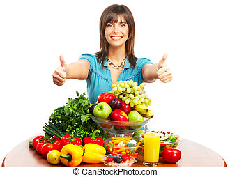 Vegetables and fruits - Young smiling woman with fruits and ...