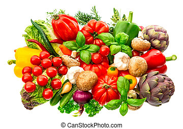 vegetables and herbs isolated on white background. raw food ingredients. tomato, paprika, artichoke, mushrooms, cucumber, green salad, garlic, rosemary, thyme, basil