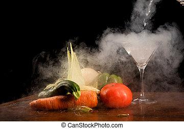 Still life of vegetables and liquid nitrogen