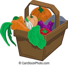 vegetables and produce in basket - Basket of vegetable/...