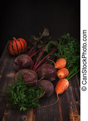 Vegetables and pumpkin a low key in style rustic - Fresh...