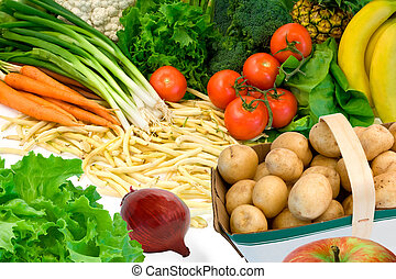 This is a close-up of vegetables and some fruits.