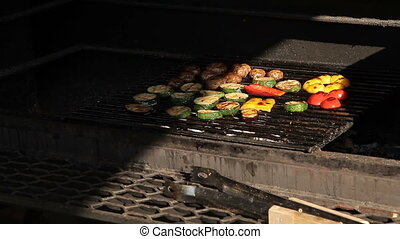 Vegetables are grilled - Cooking vegetables on the grill