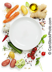 Vegetables around empty white plate