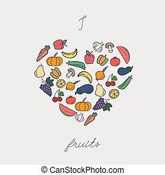 Vegetables arranged in heart shape