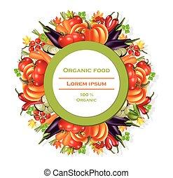 Vegetables autumn harvest round wreath Vector. Realistic pumpkin, eggplant and tomatoes. Fall Season illustrations