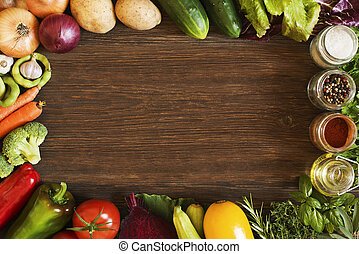 Vegetables background - Vegetables on old wooden background...