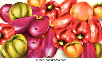Vegetables banner illustration. eggplant, pepper, yellow tomatoes Vector watercolors