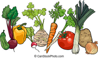 vegetables big group cartoon illustration - Cartoon ...