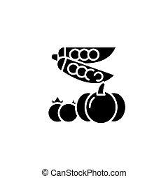 Vegetables black icon concept. Vegetables flat vector symbol, sign, illustration.