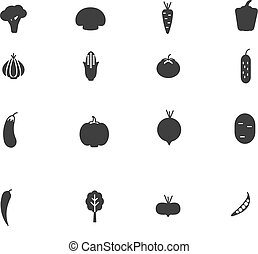 Vegetables  black icon set.  Vector illustration.