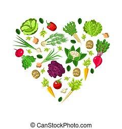 vegetables., blanc, modèle, formé, arrière-plan., racine, vecteur, coeur, illustration