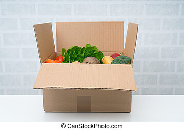 Vegetables box. Delivery box. Fresh fruits and vegetables