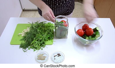Vegetables canning - Tomatoes, cucumbers with other veggies...