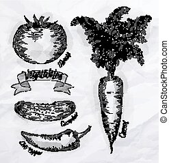 Vegetables carrot, tomato, chili peppers, cucumber vintage
